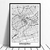 Leinwanddruck,Shanghai Schwarz Weiß Benutzerdefinierte