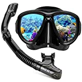 Diving Mask,Hiearcool Diving Goggles Snorkel Set for Adults and Youth,Panoramic View Anti-Fog Lens Anti-Leak Dry Top Snorkel Gear Goggle for Swimming Snorkeling Mask and Scuba Diving Mask