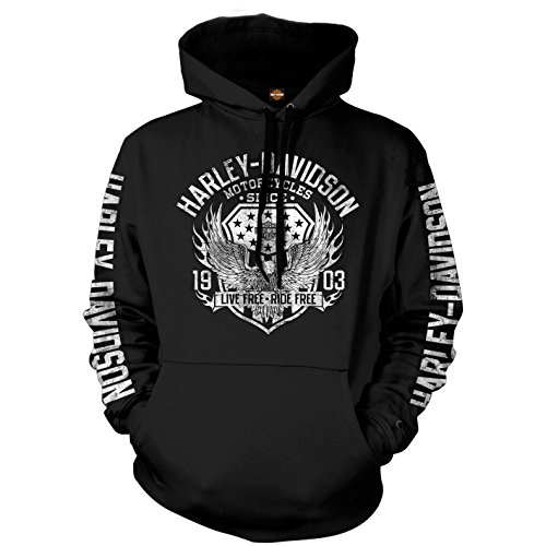 Harley-Davidson Military Men's Pullover Hooded Sweatshirt - Military Collage | Epic (2X-Large) Black