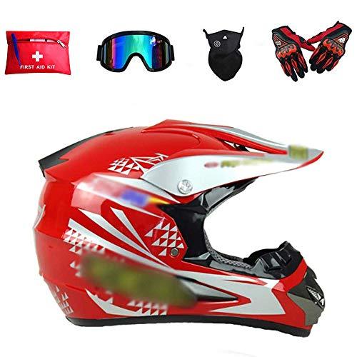 Adulto Motocross Casco rojo brillante, Motocicleta Deportes Enduro Cuesta Abajo ATV MTB...