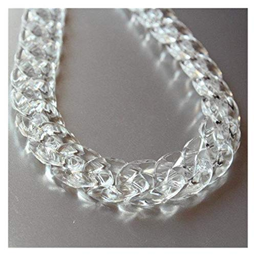 DAXINYANG Colorful Linght 80pcs Transparent Acrylic Curb Chain Links, Clear White Plastic Curb Chain Links, Open Link per Size 22mmx15mm