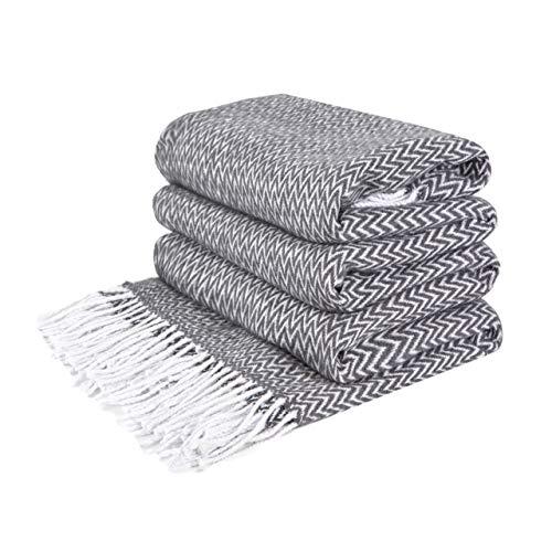 LoveYouHome Ecken Baumwolle Decke-Kuscheldecke Extra groß Überwurf (140 cm X 200 cm - Tief-Grau)