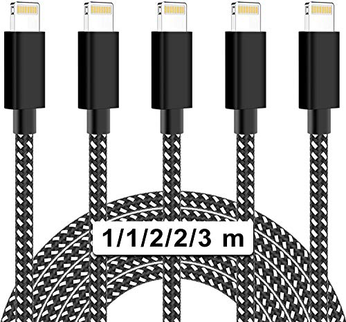Phone Charger cables,MBYY MFi Certified 5 Pack(3/3/6/6/10ft) Durable High-Speed Charging Nylon Braided Cord Compatible with Phone 11/Xs/Max/XR/X/8/8Plus/7/7Plus/6S/6S Plus/SE/Pad/Nan (Black&White)