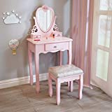 J- Dressing Table with Mirror Stool for Girls, Pink Kids Vanity Table for 3,4,5,6,7,8 Child, Birthday Gift for Children Bedroom