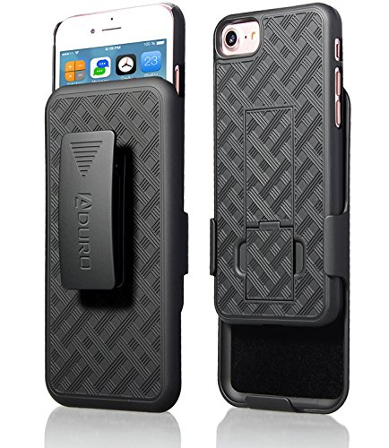 Aduro iPhone SE2/8/7/6/6s Holster Case, Combo Shell & Holster Case - Super Slim Shell Case with Built-in Kickstand, Swivel Belt Clip Holster for Apple iPhone SE 2nd Gen (2020) 8, 7, 6, 6s