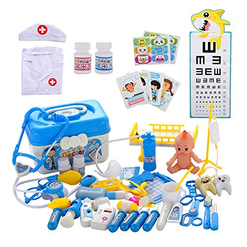 Towwi Medical Kit for Kids - 52 Pieces Doctor Pretend Play Equipment, Dentist Kit for Kids, Doctor Play Set with Case Blue