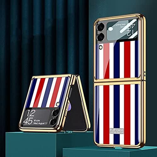 DEMCERT for Samsung Galaxy Z Flip 3 5G Glass Case, Ultra Thin Hard 9H Plating Glass Shockproof Color Stripes Phone Cover for Samsung Galaxy Z Flip 3 5G (Color Stripes)