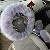 1 Set 3 Pcs Steering Wheel Cover Faux Wool Hand Brake Set Warm Winter (Gray)