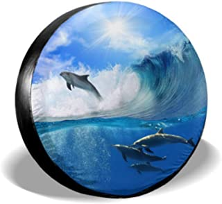 ENEVOTX Oceanview Sunlight Flock Playful Dolphins Swimming Wheels Protector Jeep Wheel Protector Tire Cover Waterproof Uv Sun 14 - 17 Fit for Jeep Trailer Rv SUV and Many Vehicle