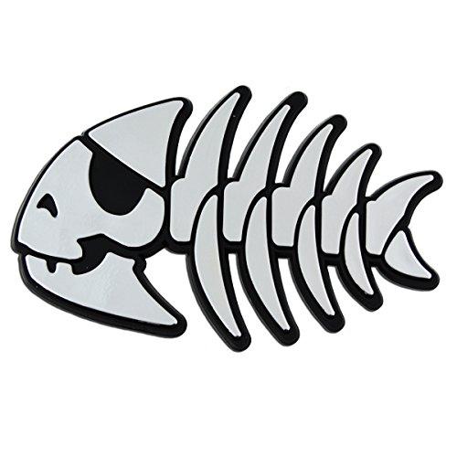 FSM Jolly Pirate Fish Plastic Auto Emblem - [Silver][4 1/4'' x 2 3/4'']
