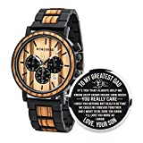 BOBO BIRD Mens Personalized Engraved Wooden Watches, Stylish Wood & Stainless Steel Combined Quartz Casual Wristwatches for Men Family Friends Customized Watch (A-for Dad from Son)