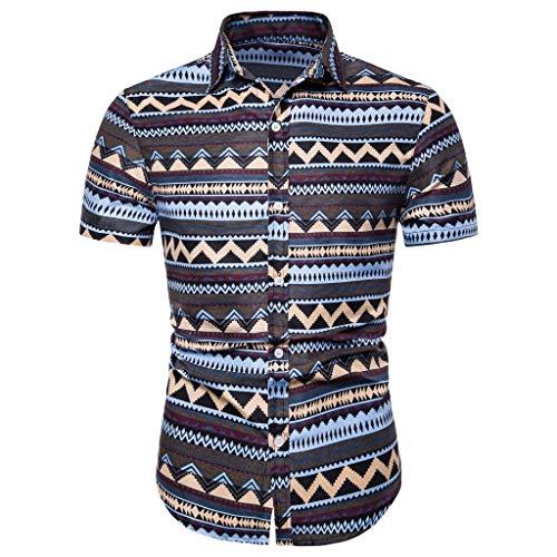 Reooly Camisa con Estampado de Botones de Manga Corta étnica de Verano de Lino y algodón Hombre(Púrpura,L)