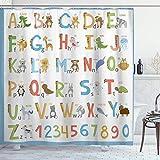 MIFSOIAVV Duschvorhang Mit Haken,Alphabet Kids ABC Lernwerkzeug für Jungen & Babys Großes Poster von A bis Z,Bad Vorhang Waschbar Bad Vorhang Polyester Stoff mit 12 Haken 180x180 cm