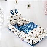 Nido de bebé para una cama plegable linda baby hounger, 100% algodón suave cunas portátiles para dormitorio/viaje, transpirable e hipoalergénico biónico biónico bisinet de bebé recién nacido con col
