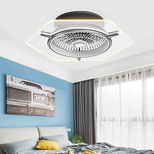 56CM Ceiling Fan with Light Kit Remote Control LED Energy Saving Dimmable 3 Colors 3 Speed Timing Chandelier Ceiling Light Ceiling Fan Suitable for Living Room, Bedroom, Kitchen, Dining Room (3)