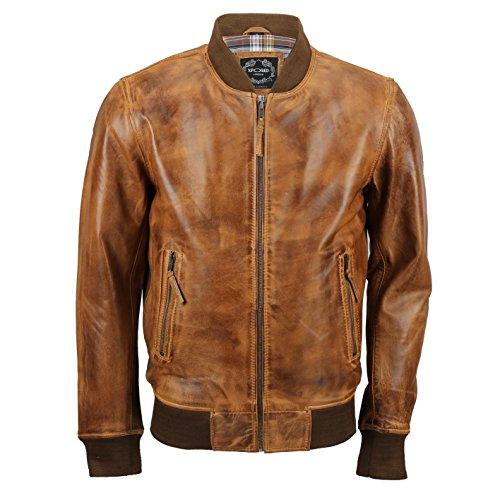 Xposed Cazadora de bombardero de cuero auténtico suave para hombre, estilo vintage en color negro y marrón