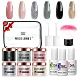 ❤ NO NEED CURING, SAVING TIME: MODELONES Dip Powder System doesn't need nail lamp to cure, so that can avoid turning skin black and damaging skin. It's a faster way to paint your nail. ❤ HIGHT QUALITY LONG LASTING: MODELONES Dip Powder System Starter...