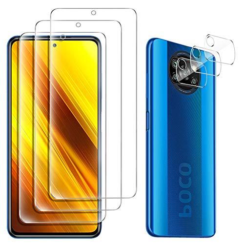 GESMA für Xiaomi Poco X3 NFC Panzerglas (3 Stücke)+Xiaomi Poco X3 NFC Kamera Panzerglas (3 Stück), Ultradünne, Glas Displayschutzfolie für Xiaomi Poco X3 NFC.