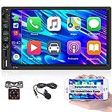 CAMECHO Radio de Coche 2 DIN con Carplay y Android Auto 7 Pulgadas Pantalla Tactil Autoradio Bluetooth con USB, TF, Auxiliar, FM, iOS/Android Enlace Espejo con Cámara de Visión Trasera y Micrófono