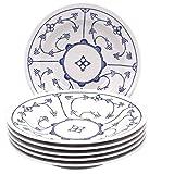 Kahla 16G112A75019H Blau Saks blauweiß Tellerset für 6 Personen Porzellan 6-teilig Suppenteller Blumendekor Tiefe Teller rund Nudelteller