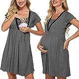 Meaneor - Camisón de lactancia para mujer, de manga corta, para embarazadas y lactancia gris oscuro XL