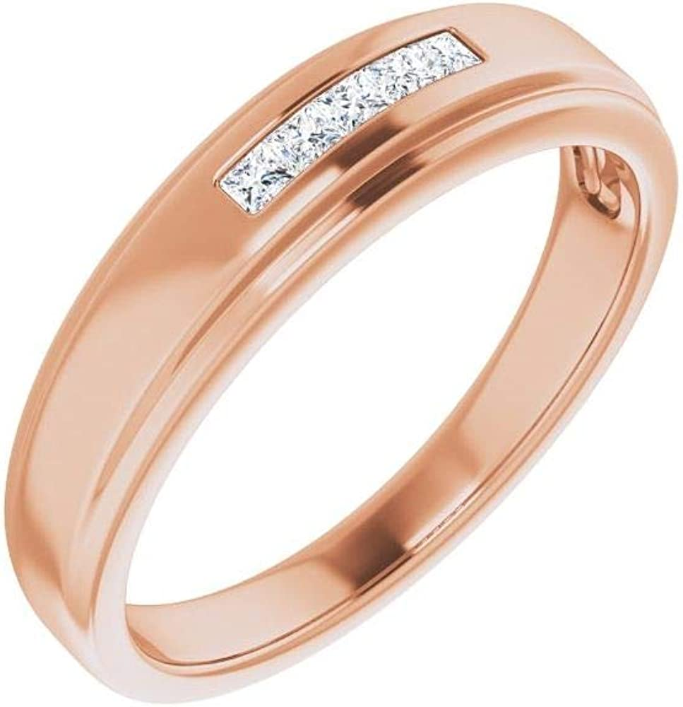 Men's Solid 14k Rose Gold 1 6 Ring S - Cheap bargain Diamond 5-Stone Band National uniform free shipping Cttw