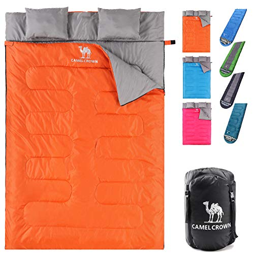 CAMEL CROWN Double Sleeping Bag for Backpacking, Camping, Hiking 2 Person Waterproof Lightweight...