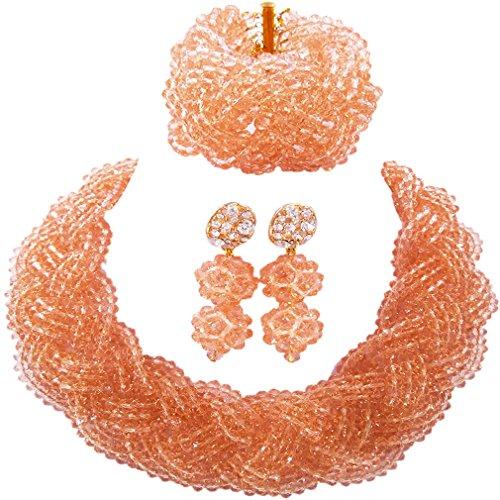 laanc hecho a mano popular Gargantilla Peach Cristal Boda nigeriano cuentas africanos joyería conjuntos A000203