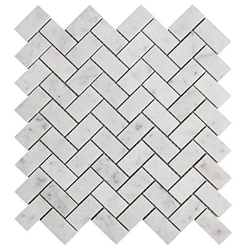 Diflart Carrara Mosaik-Krawatte aus italienischem Carrera-Marmor, Mosaik-Krawatte, Fliesenspiegel für Küche und Badezimmer (Fischgräten-Fliese)