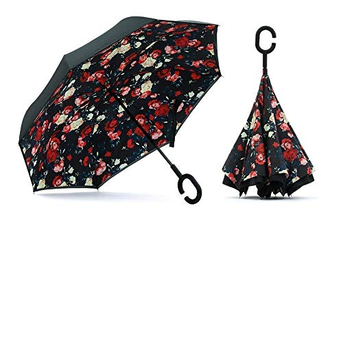 Prifix Windproof Upside Down Reverse Umbrella with C-Shaped Handle, Uv Protection, Umbrella for Car and Outdoor Use, Hands Free Handle Umbrella (Reversible C Handle)