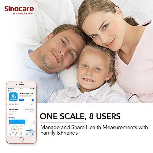 51WqCai7jLL - Sinocare Básculas Digitales, Báscula Baño Digital Bluetooth Inteligente Tiene APP, Báscula de Baño Digital Ultrafina con Pantalla LCD, con Sensores de 50G Alta Precisión (ST/KG/LB)180kg/400lbs