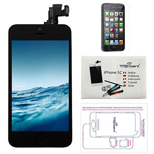Trop Saint Pantalla para iPhone 5C Negro - Kit de reparación LCD Completo - con Guía 5 lenguas, Superficie de Trabajo magnética, Herramientas y Film Protector Pantalla