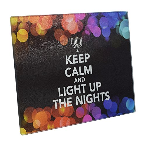 """Chanukah Themed Serving Tray – """"Keep Calm and Light Up The Nights"""" Decorative Tempered Glass Plate – 8"""" x 12"""" - Chanuka Party and Gift Items by The Kosher Cook"""