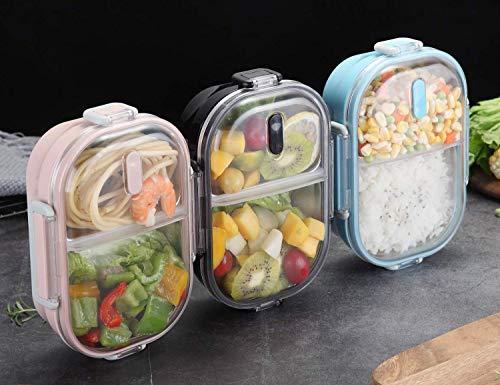 fiambrera infantil Acero inoxidable Prueba de fugas Bento caja de almuerzo con 2 compartimentos Envase del bocado de la comida Para Adultos, Durable rosado