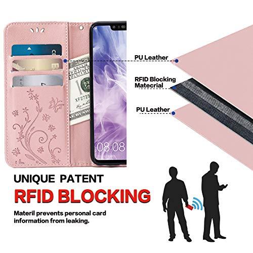 Teebo Hülle für Huawei Nova 3 Schutzhülle aus PU Leder Handyhülle mit geprägtem Schmetterling-Muster Kartenfach und Magnetverschluss Rose Gold - 6