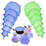 Silicone Stretch Lids, Adpartner 12 Pack of Various Sizes BPA-free Silicone Lids Reusable Container...