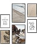 Heimlich Cuadros Decorativos - Decoración Colgante para Paredes de Sala, Dormitorios y Cocina - Arte Mural - 2 x A3 (30x42cm) et 4 x A4 (21x30cm) | Sin Marcos »Beach Time «