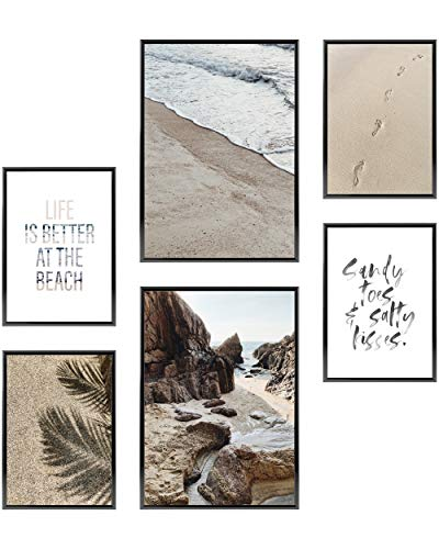 Heimlich Cuadros Decorativos - SIN Marcos -Decoración Colgante para Paredes de Sala, Dormitorios y Cocina - Arte Mural - 2 x A3 & 4 x A4-30x42 & 21x30 | » Beach Time «