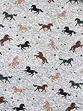 Steppstoff Sweatstoff grau meliert Pferd ab 50 cm (1,5m)