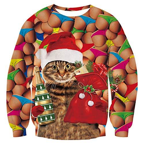 Men Women Ugly Christmas Sweater Xmas Sweatshirt Funny Santa Cat Wine Lucky Bag Gift Humor Ass Butt Print Xmas Pullover Sweatshirt for Women Men
