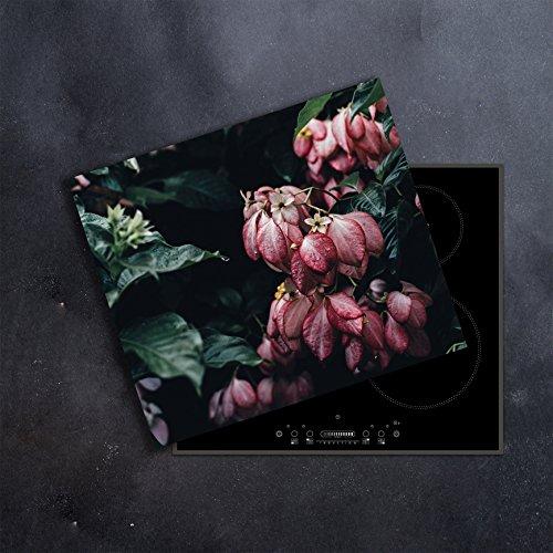 DAMU | Ceranfeldabdeckung 1 Teilig 60x52 cm Herdabdeckplatten Blumen violett Natur Elektroherd Induktion Herdschutz Spritzschutz Glasplatte Schneidebrett