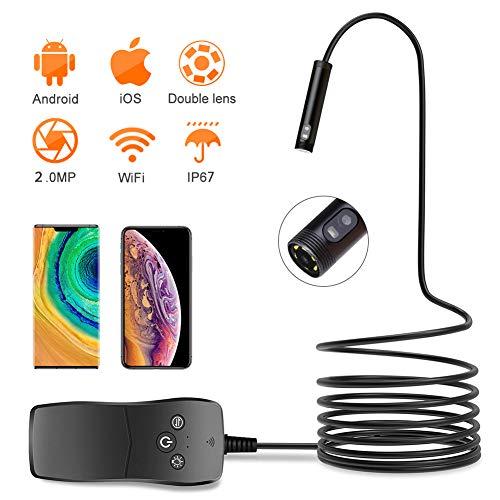 Wifi Endoskop Kamera, Dual Lens Endoskop Inspektionskamera 8Mm 2.0MP Wasserdichte Borescope Snake Inspection Tube Kamera Für Android Und Ios,1M
