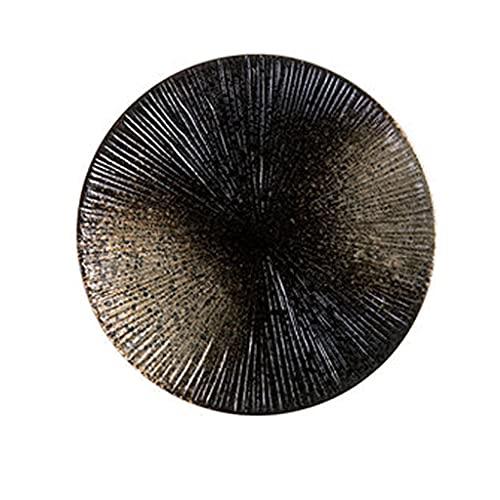 Aiglen Creativo Retro vajilla de cerámica Pasta Placa Placa de Filete Placa de Fruta Placa Redonda Placa Degradado Retro Rayas Plato Plato Plato Plato (Size : 26cm*2.5cm)