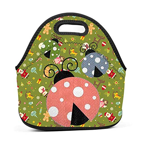 Three Different Colors Ladybug Lunch Bag Insulated Reusable Neoprene Lunch Box Waterproof Tote Bento Bag With Zippe Handbag For Men, Women, Adults, Kids, Girls, Boys