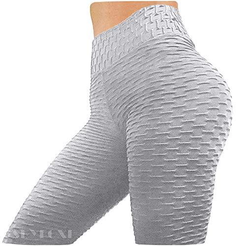 SKYFOXE Leggings sexys para levantamiento de glúteos anti celulitis, para mujer, cintura alta, pantalones de yoga, entrenamiento, control de barriga, mallas deportivas - gris - Medium