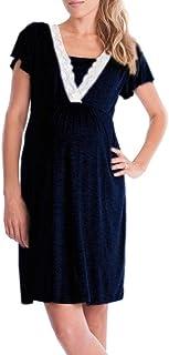 Vestido de Lactancia Maternidad de Noche, Ropa Embarazadas Vestido Enfermería Mujer Manga Corta Vestido Pijama Verano Encaje (Armada, L)