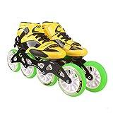 HHYK Pattini a rotelle, Scarpe da Pattinaggio di velocità Professionali, Pattini for Bambini for Adulti, Pattini in Linea, Scarpe da Corsa con Ruote Grandi (Color : Green, Size : 33)
