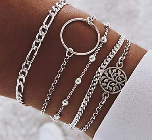 Denifery Hollowed Circle Bead Chain Bracelet Hand Accessories,Set of 5