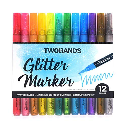 Glitter Markers, Acrylic metalic Paint Pens, Water Based, Best for Rock Painting, Stone, Ceramic, Coloring,12 Colors, 902003