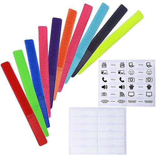 Wisdompro - Confezione da 20 fascette, riutilizzabile, con etichetta di identificazione 18 cm, colori vari